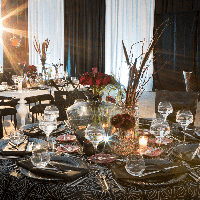 Table setup in ballroom at FORUM Events Center, Indianapolis event venue