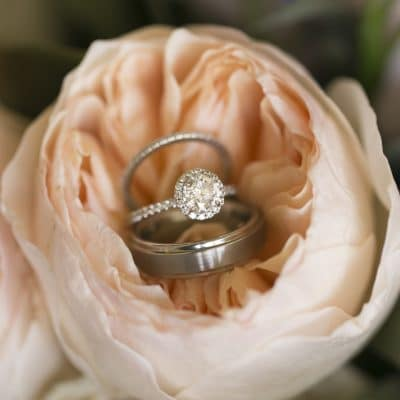 Beautiful ring inside peach rose for wedding at FORUM Events Center