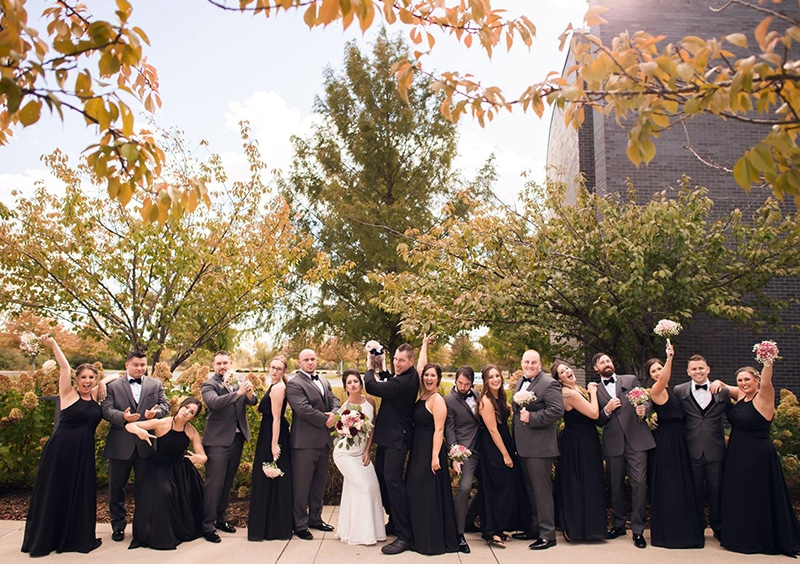 Wedding party in beautiful courtyard at FORUM Events Center