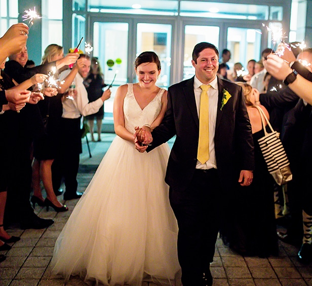 Bride and groom entering FORUM Events Center, Fishers event venue
